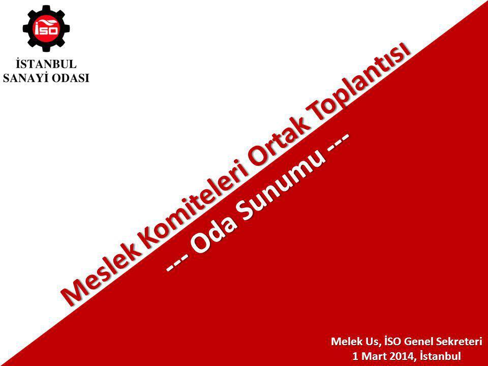 Melek Us, İSO Genel Sekreteri 1 Mart 2014, İstanbul Meslek Komiteleri Ortak Toplantısı --- Oda Sunumu ---