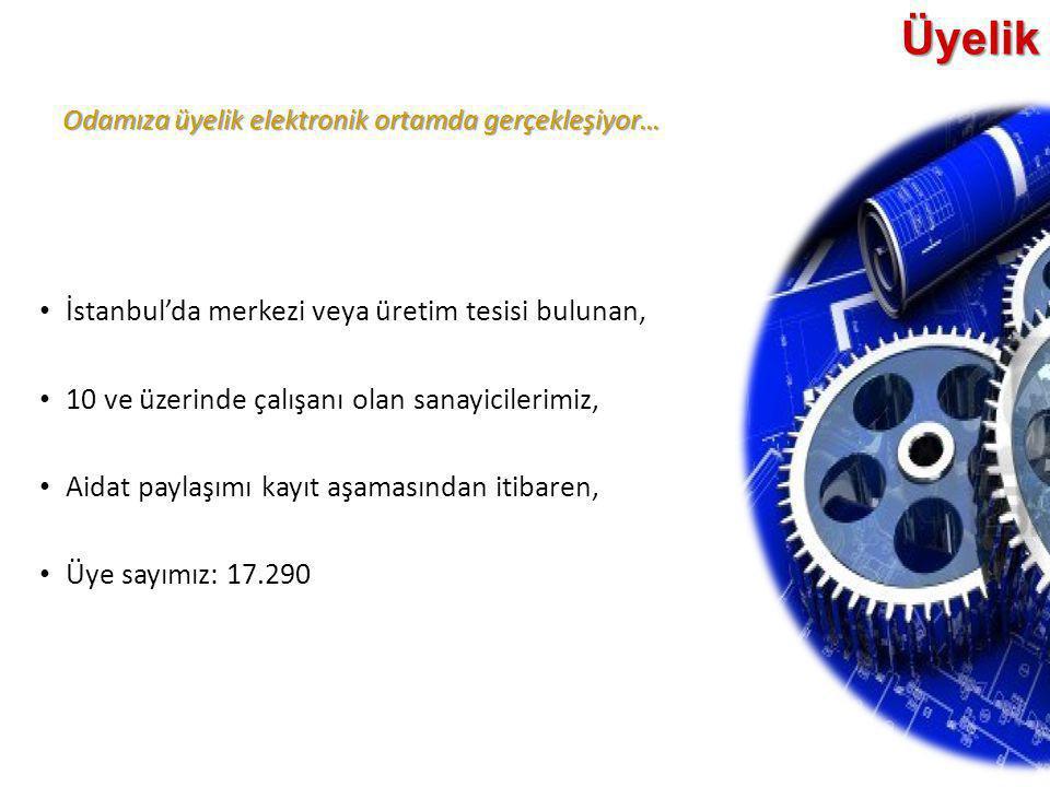 Odamıza üyelik elektronik ortamda gerçekleşiyor… Üyelik • İstanbul'da merkezi veya üretim tesisi bulunan, • 10 ve üzerinde çalışanı olan sanayicilerim