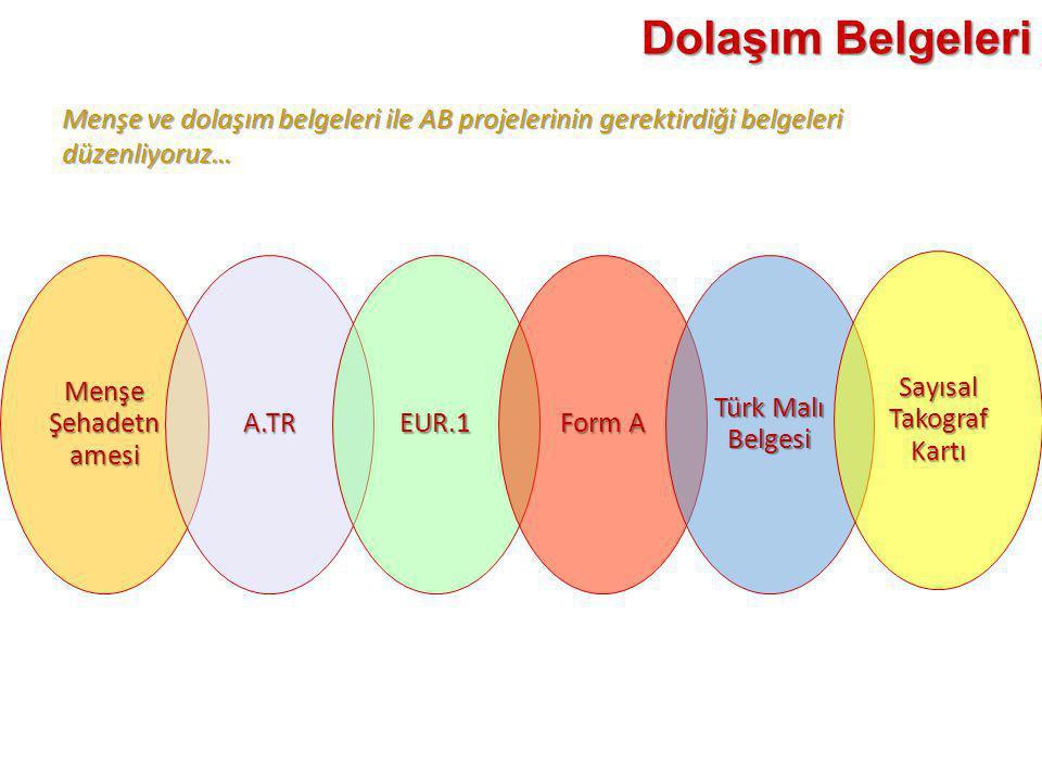 Menşe Şehadetn amesi A.TREUR.1 Form A Türk Malı Belgesi Sayısal Takograf Kartı Dolaşım Belgeleri Menşe ve dolaşım belgeleri ile AB projelerinin gerekt