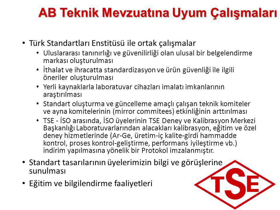 AB Teknik Mevzuatına Uyum Çalışmaları • Türk Standartları Enstitüsü ile ortak çalışmalar • Uluslararası tanınırlığı ve güvenilirliği olan ulusal bir b