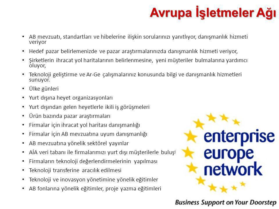 Avrupa İşletmeler Ağı • AB mevzuatı, standartları ve hibelerine ilişkin sorularınızı yanıtlıyor, danışmanlık hizmeti veriyor • Hedef pazar belirlemeni