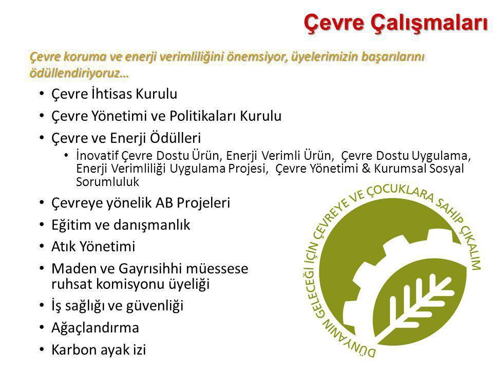 Çevre koruma ve enerji verimliliğini önemsiyor, üyelerimizin başarılarını ödüllendiriyoruz… Çevre Çalışmaları • Çevre İhtisas Kurulu • Çevre Yönetimi