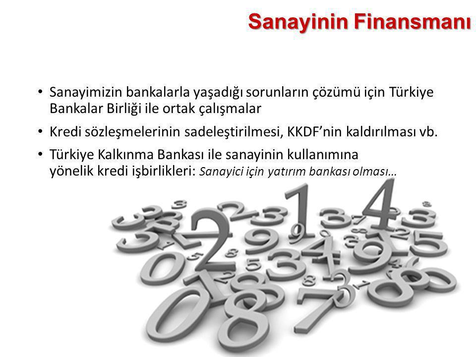 Sanayinin Finansmanı • Sanayimizin bankalarla yaşadığı sorunların çözümü için Türkiye Bankalar Birliği ile ortak çalışmalar • Kredi sözleşmelerinin sa