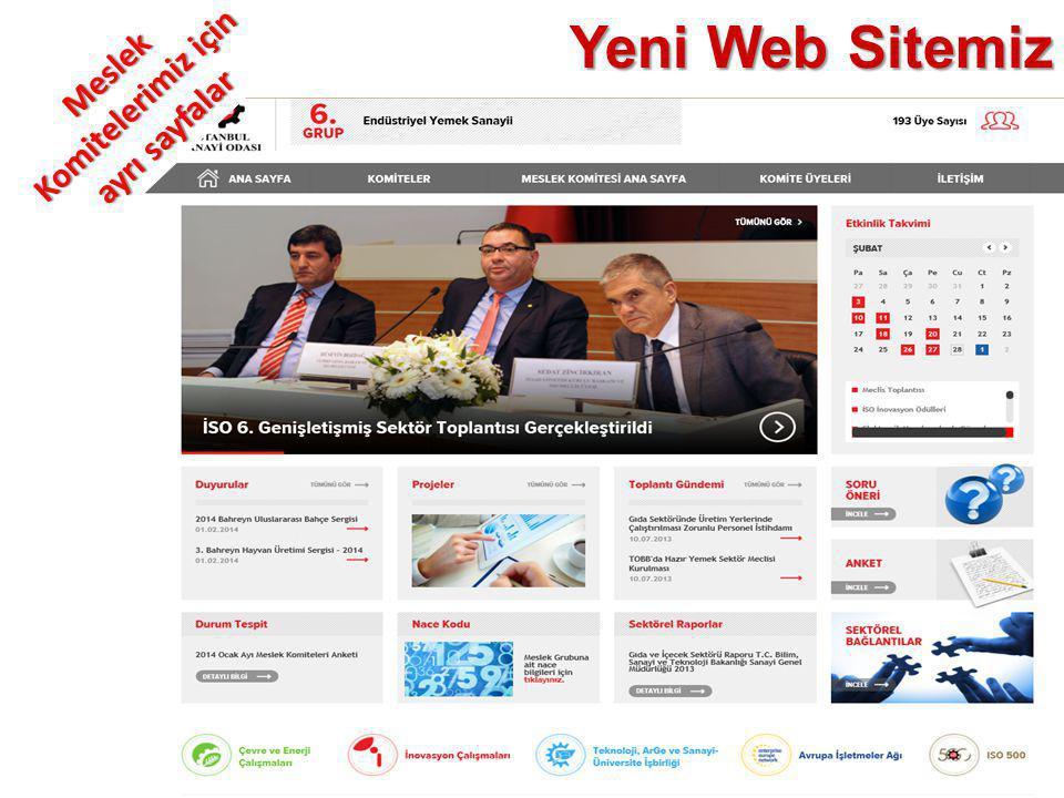 Yeni Web Sitemiz Meslek Komitelerimiz için ayrı sayfalar