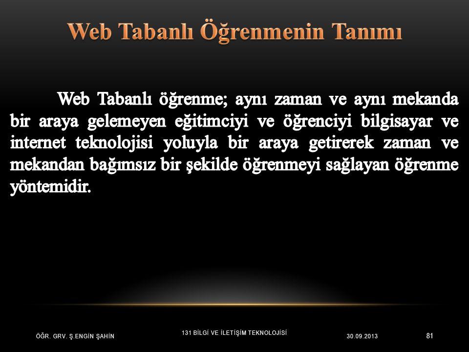 81 ÖĞR. GRV. Ş.ENGİN ŞAHİN 131 BİLGİ VE İLETİŞİM TEKNOLOJİSİ 30.09.2013