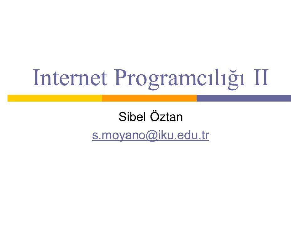 Internet Programcılığı II Sibel Öztan s.moyano@iku.edu.tr