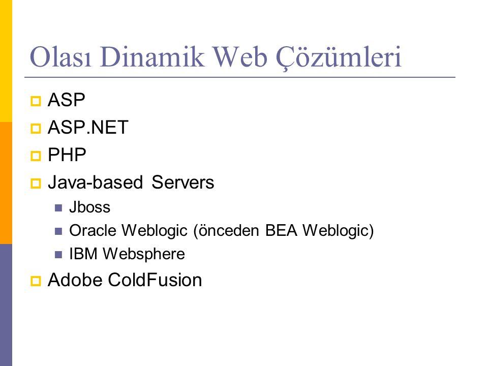 Olası Dinamik Web Çözümleri  ASP  ASP.NET  PHP  Java-based Servers  Jboss  Oracle Weblogic (önceden BEA Weblogic)  IBM Websphere  Adobe ColdFusion