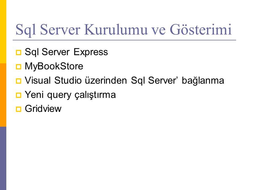 Sql Server Kurulumu ve Gösterimi  Sql Server Express  MyBookStore  Visual Studio üzerinden Sql Server' bağlanma  Yeni query çalıştırma  Gridview
