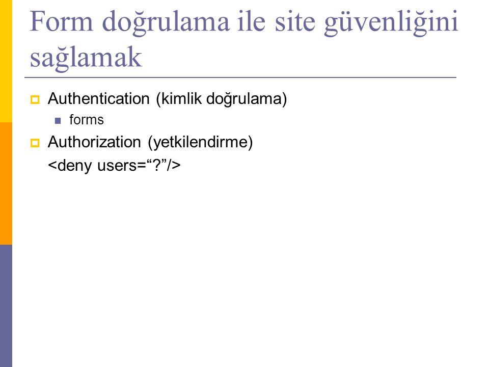 Form doğrulama ile site güvenliğini sağlamak  Authentication (kimlik doğrulama)  forms  Authorization (yetkilendirme)