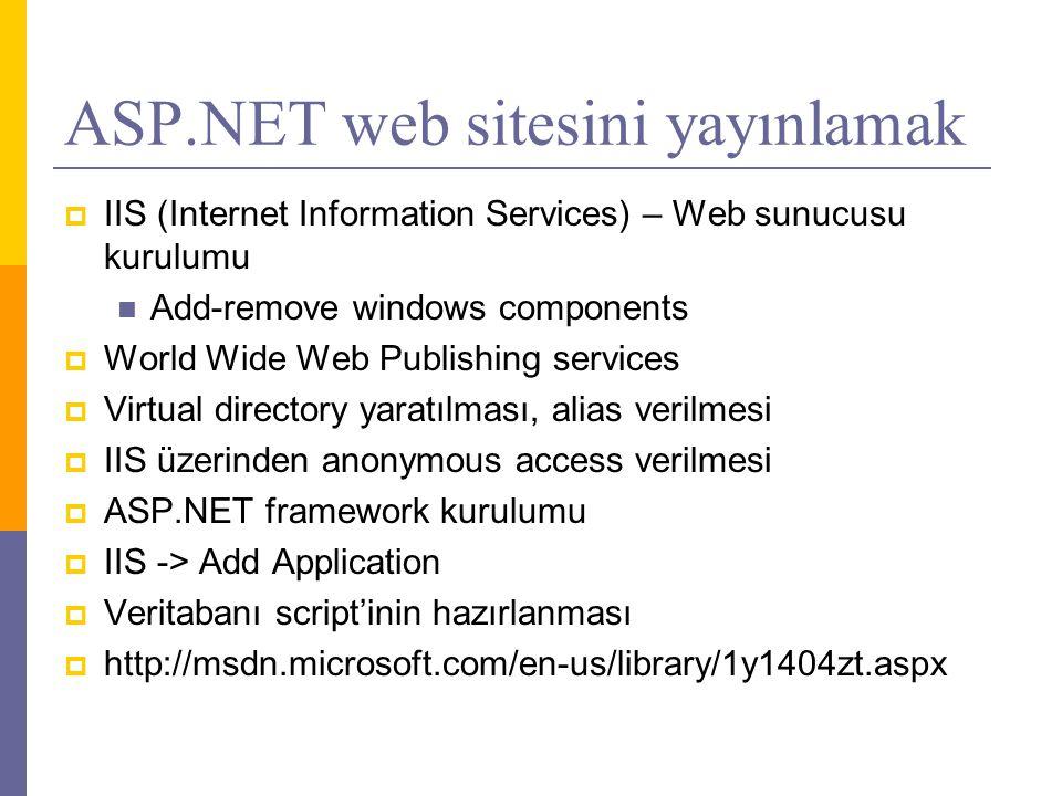 ASP.NET web sitesini yayınlamak  IIS (Internet Information Services) – Web sunucusu kurulumu  Add-remove windows components  World Wide Web Publishing services  Virtual directory yaratılması, alias verilmesi  IIS üzerinden anonymous access verilmesi  ASP.NET framework kurulumu  IIS -> Add Application  Veritabanı script'inin hazırlanması  http://msdn.microsoft.com/en-us/library/1y1404zt.aspx