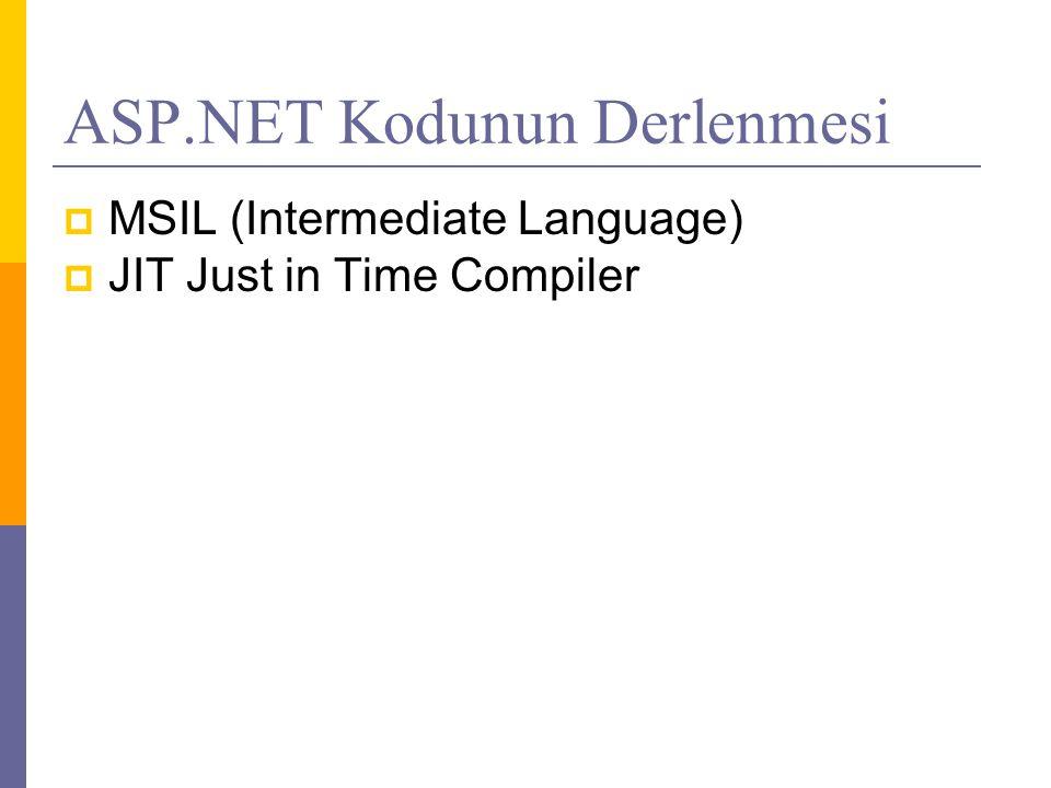  MSIL (Intermediate Language)  JIT Just in Time Compiler
