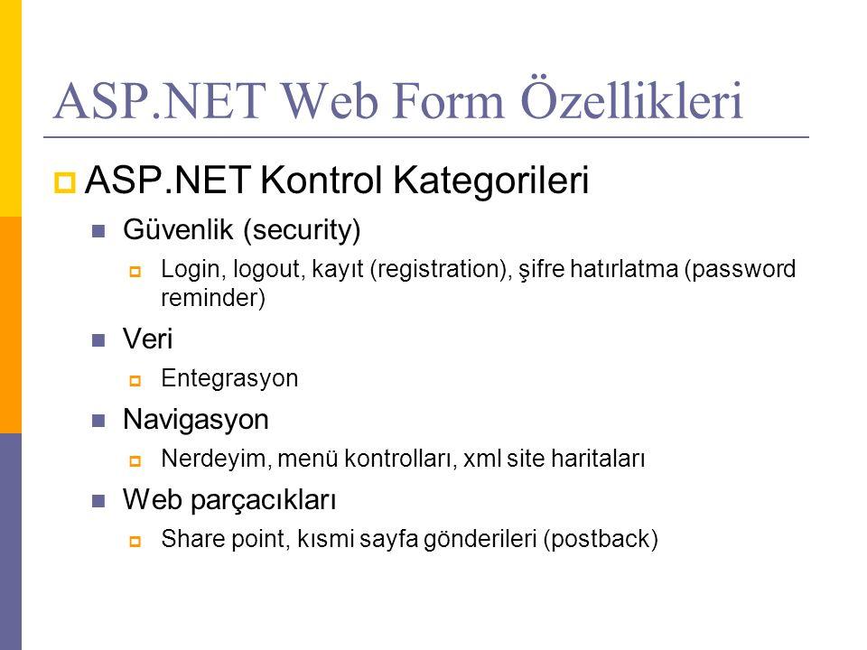 ASP.NET Web Form Özellikleri  ASP.NET Kontrol Kategorileri  Güvenlik (security)  Login, logout, kayıt (registration), şifre hatırlatma (password reminder)  Veri  Entegrasyon  Navigasyon  Nerdeyim, menü kontrolları, xml site haritaları  Web parçacıkları  Share point, kısmi sayfa gönderileri (postback)