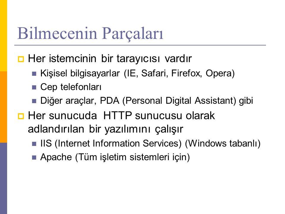 Bilmecenin Parçaları  Her istemcinin bir tarayıcısı vardır  Kişisel bilgisayarlar (IE, Safari, Firefox, Opera)  Cep telefonları  Diğer araçlar, PDA (Personal Digital Assistant) gibi  Her sunucuda HTTP sunucusu olarak adlandırılan bir yazılımını çalışır  IIS (Internet Information Services) (Windows tabanlı)  Apache (Tüm işletim sistemleri için)