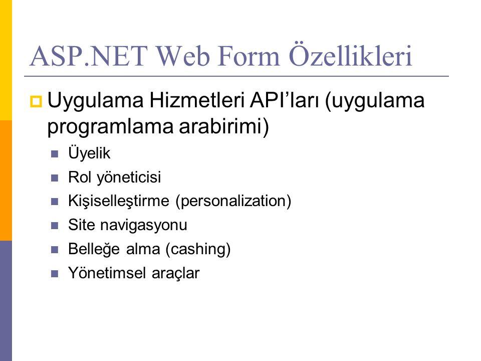 ASP.NET Web Form Özellikleri  Uygulama Hizmetleri API'ları (uygulama programlama arabirimi)  Üyelik  Rol yöneticisi  Kişiselleştirme (personalization)  Site navigasyonu  Belleğe alma (cashing)  Yönetimsel araçlar