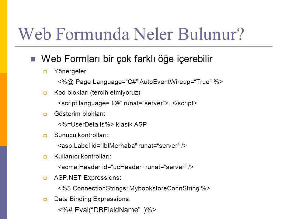 Web Formunda Neler Bulunur.