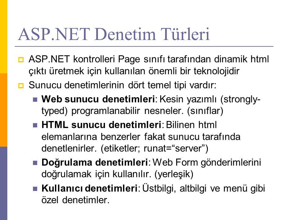 ASP.NET Denetim Türleri  ASP.NET kontrolleri Page sınıfı tarafından dinamik html çıktı üretmek için kullanılan önemli bir teknolojidir  Sunucu denetimlerinin dört temel tipi vardır:  Web sunucu denetimleri: Kesin yazımlı (strongly- typed) programlanabilir nesneler.