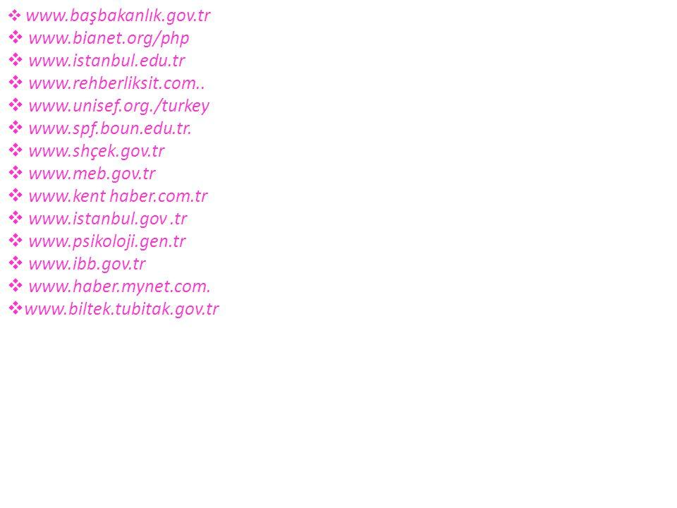  www.başbakanlık.gov.tr  www.bianet.org/php  www.istanbul.edu.tr  www.rehberliksit.com..  www.unisef.org./turkey  www.spf.boun.edu.tr.  www.shç