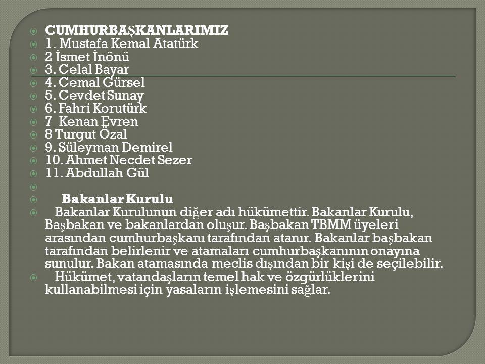  CUMHURBA Ş KANLARIMIZ  1.Mustafa Kemal Atatürk  2 İ smet İ nönü  3.