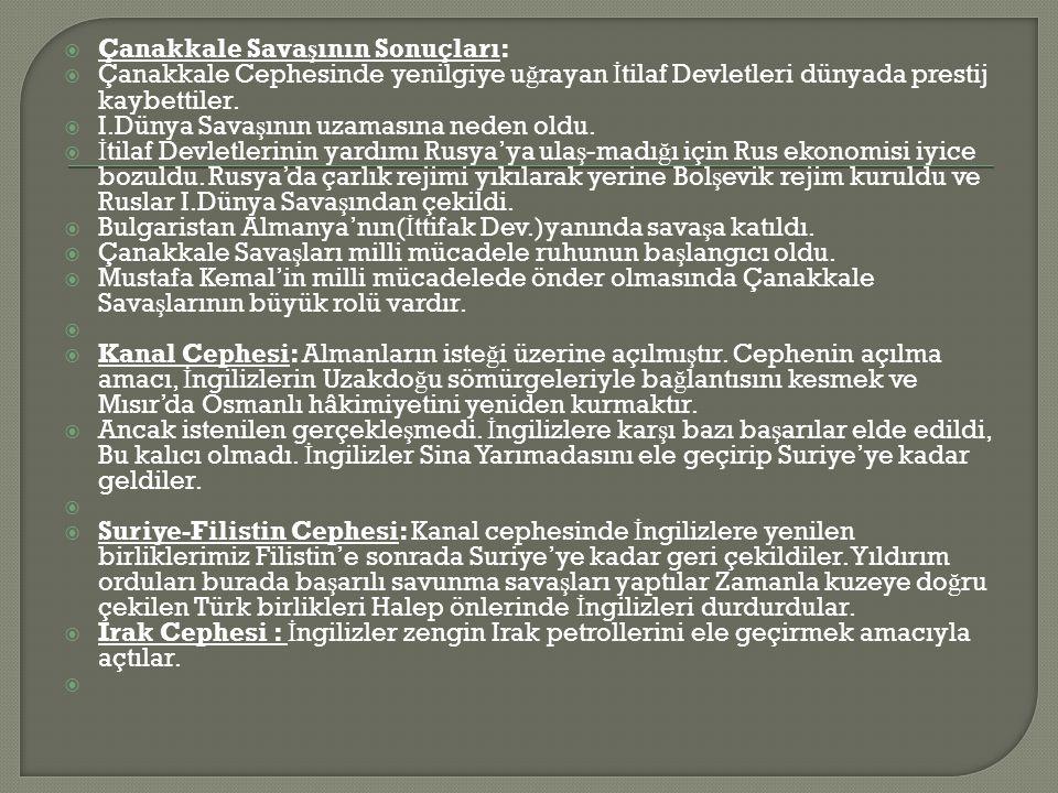  Çanakkale Sava ş ının Sonuçları:  Çanakkale Cephesinde yenilgiye u ğ rayan İ tilaf Devletleri dünyada prestij kaybettiler.