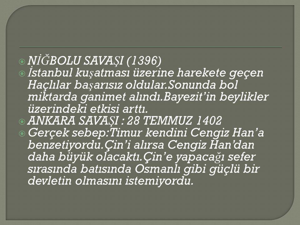  N İĞ BOLU SAVA Ş I (1396)  İ stanbul ku ş atması üzerine harekete geçen Haçlılar ba ş arısız oldular.Sonunda bol miktarda ganimet alındı.Bayezit'in beylikler üzerindeki etkisi arttı.