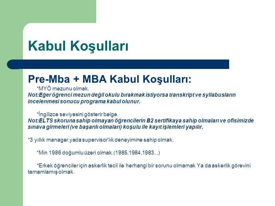 Kabul Koşulları Pre-Mba + MBA Kabul Koşulları: *MYÖ mezunu olmak. Not:Eğer öğrenci mezun değil okulu bırakmak istiyorsa transkript ve syllabusların in