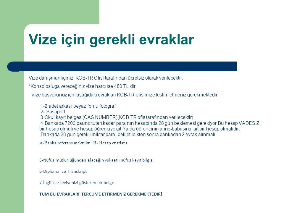 Vize için gerekli evraklar Vize danışmanlıgınız KCB-TR Ofisi tarafından ücretsiz olarak verilecektir. *Konsolosluga vereceğiniz vize harcı ise 480 TL