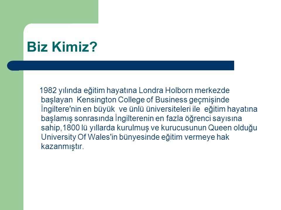 Biz Kimiz? 1982 yılında eğitim hayatına Londra Holborn merkezde başlayan Kensington College of Business geçmişinde İngiltere'nin en büyük ve ünlü üniv
