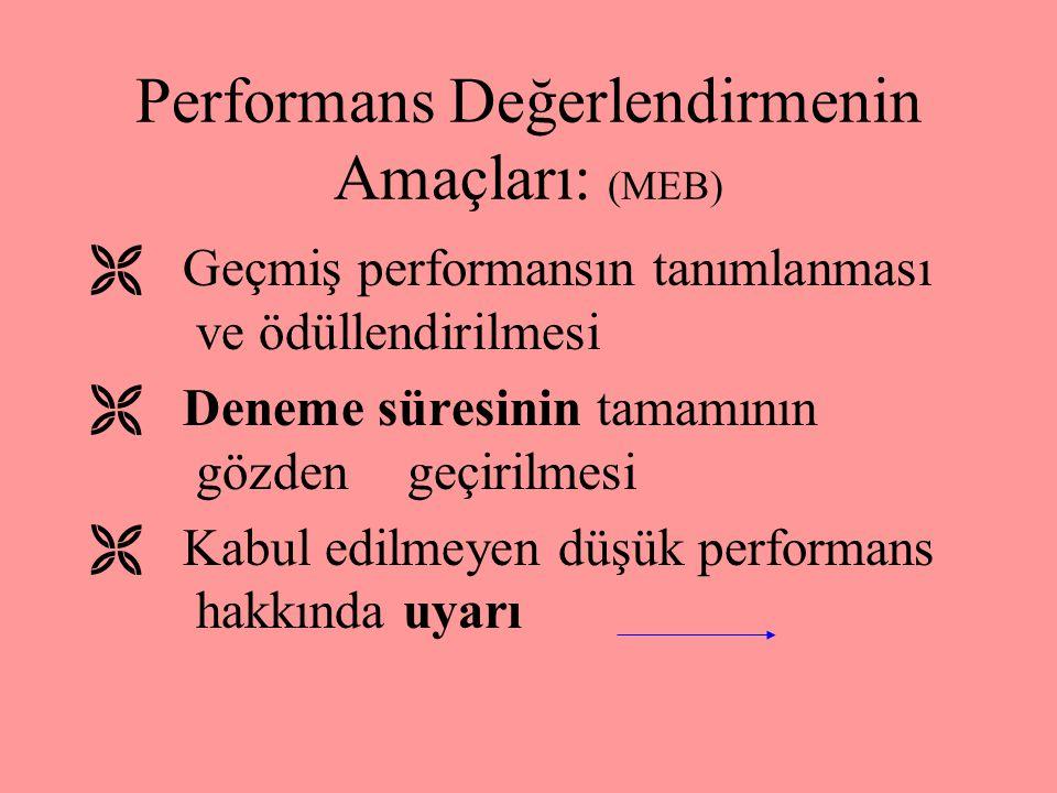 Performans Değerlendirmenin Felsefesi: (MEB) Çalışanların ; İşe alınmasında 1- İşe alınmasında 2- Eğitim ve kendini geliştirmesinde 3-Kariyer planlam