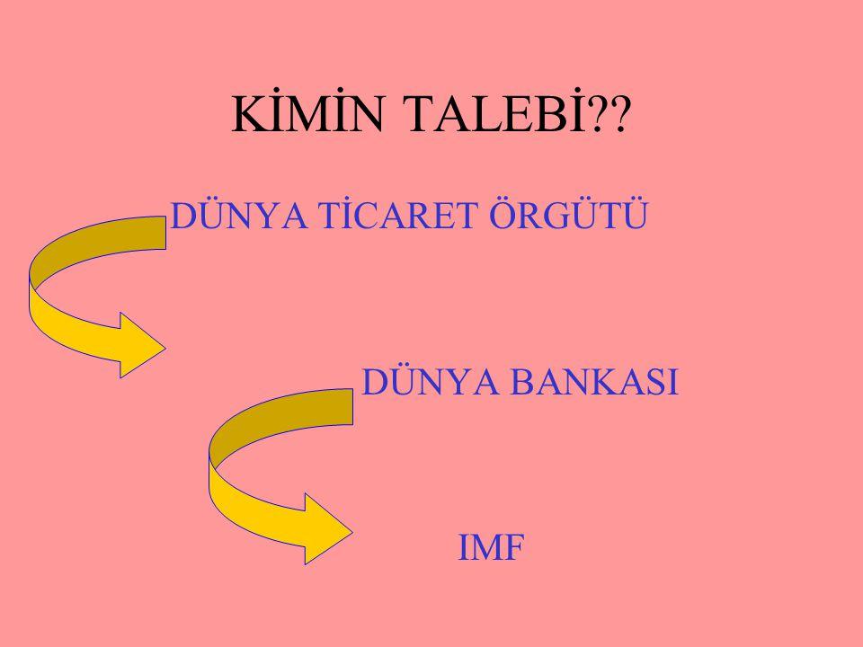 KİMİN TALEBİ?? DÜNYA TİCARET ÖRGÜTÜ DÜNYA BANKASI IMF