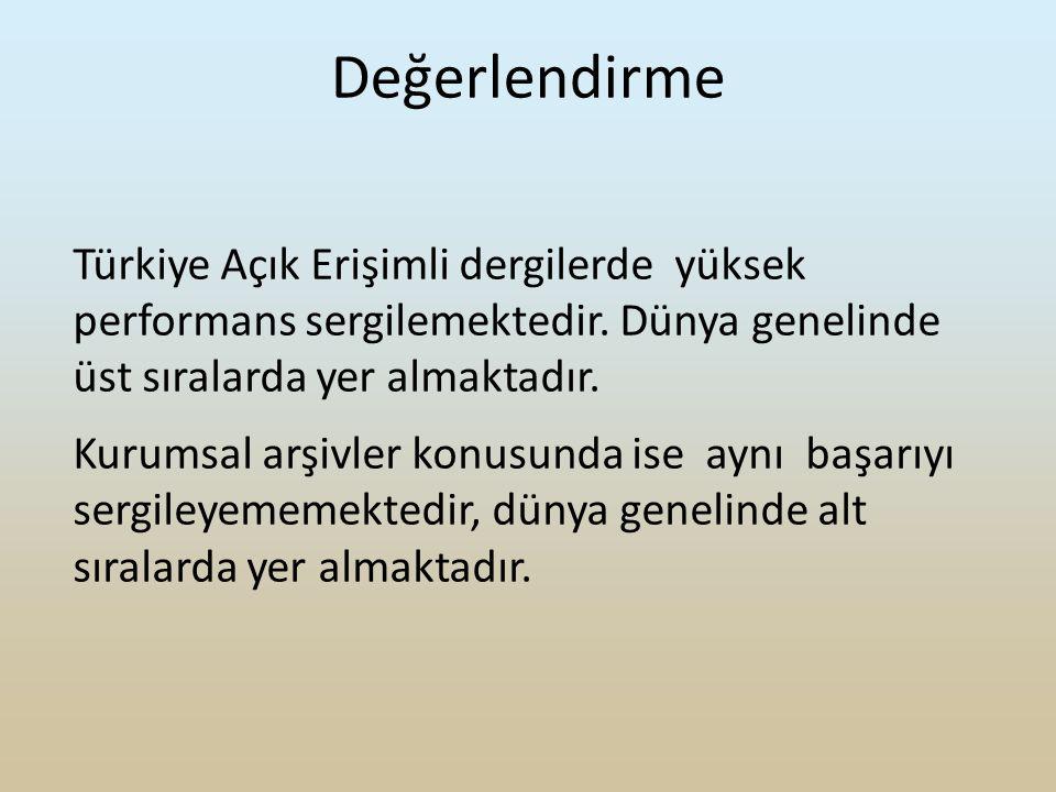 Değerlendirme Türkiye Açık Erişimli dergilerde yüksek performans sergilemektedir.