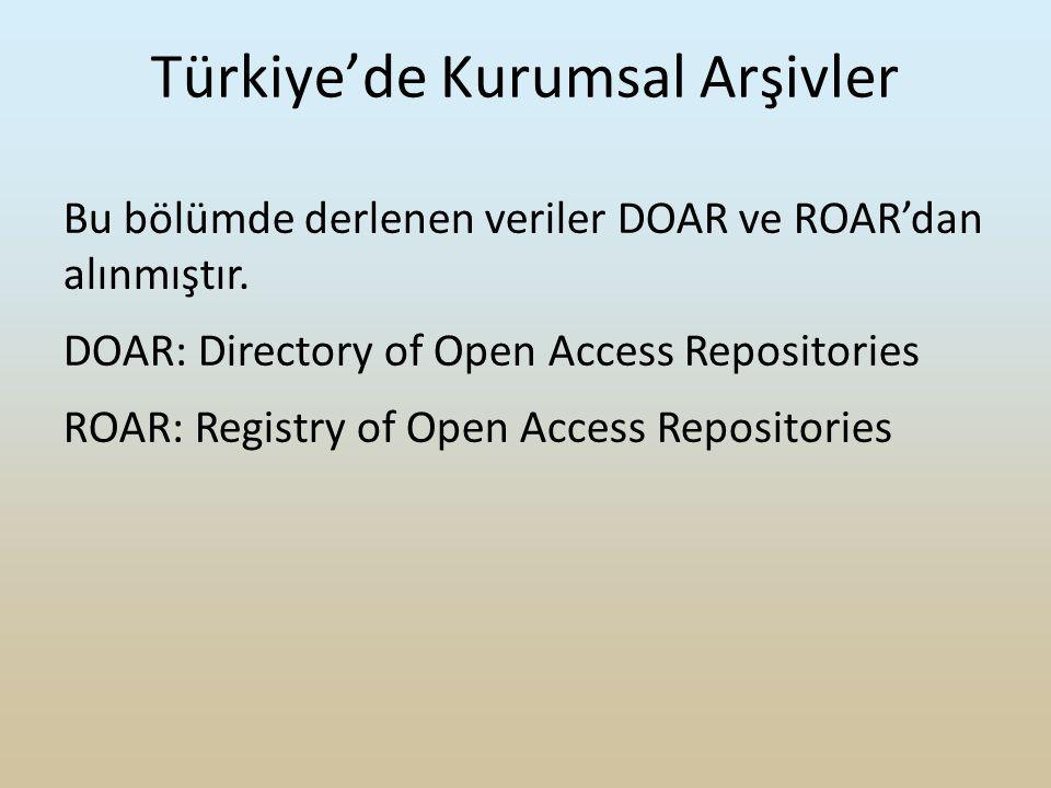 Bu bölümde derlenen veriler DOAR ve ROAR'dan alınmıştır.