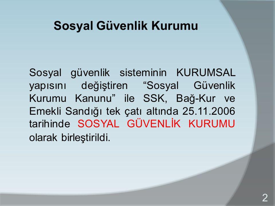 Kanunun Amacı  Kurumların Birleşmesi - SSK - Bağ-kur - T.C.