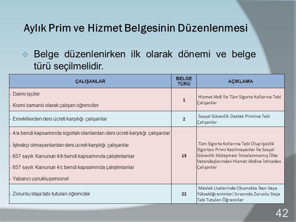 Aylık Prim ve Hizmet Belgesinin Düzenlenmesi  Belge düzenlenirken ilk olarak dönemi ve belge türü seçilmelidir.