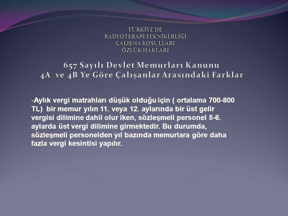 - Aylık vergi matrahları düşük olduğu için ( ortalama 700-800 TL) bir memur yılın 11.