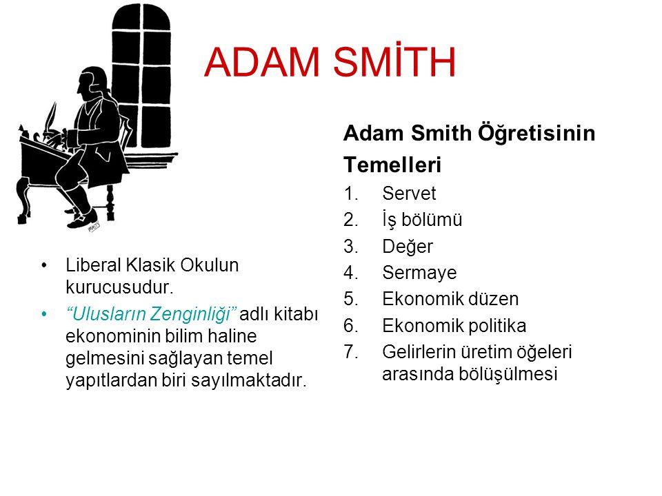 """ADAM SMİTH •L•Liberal Klasik Okulun kurucusudur. •""""•""""Ulusların Zenginliği"""" adlı kitabı ekonominin bilim haline gelmesini sağlayan temel yapıtlardan bi"""