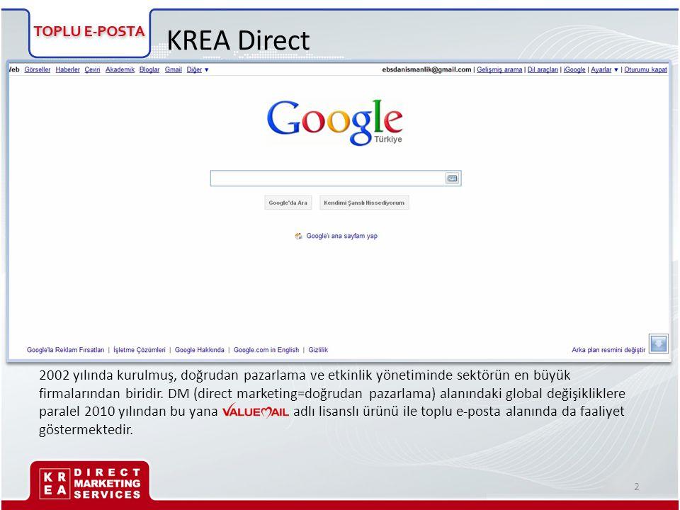 KREA Direct 2002 yılında kurulmuş, doğrudan pazarlama ve etkinlik yönetiminde sektörün en büyük firmalarından biridir. DM (direct marketing=doğrudan p