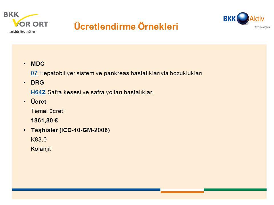 Ücretlendirme Örnekleri •MDC 0707 Hepatobiliyer sistem ve pankreas hastalıklarıyla bozuklukları •DRG H64ZH64Z Safra kesesi ve safra yolları hastalıkla