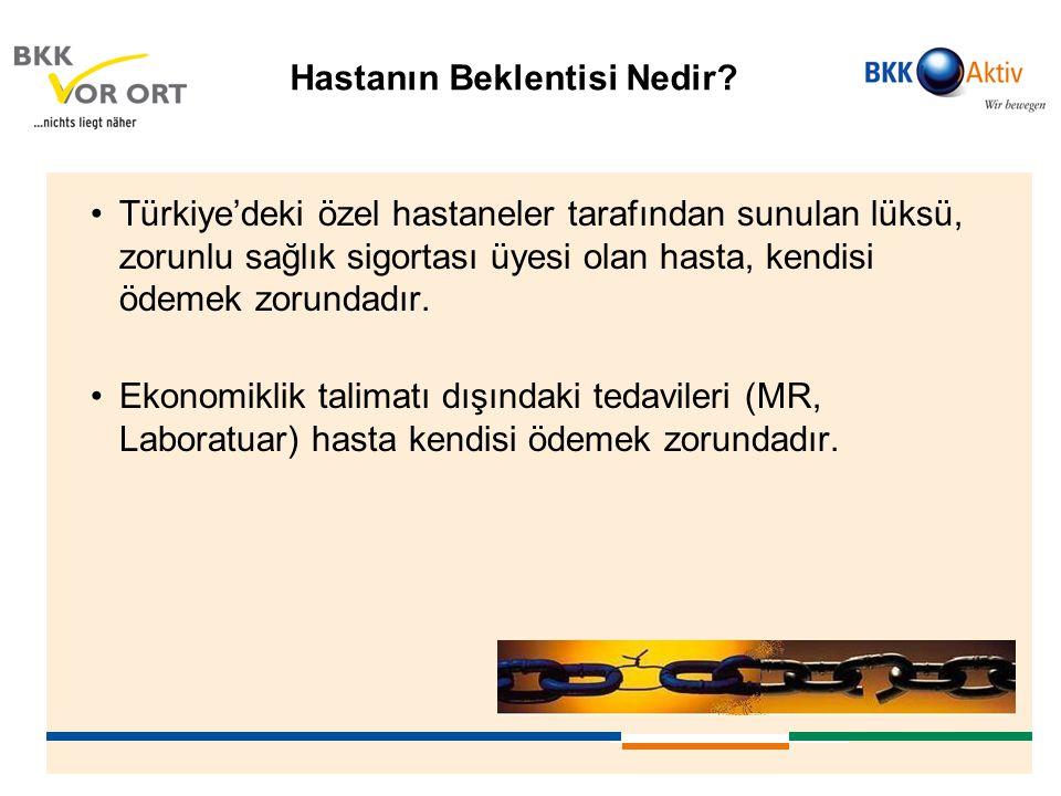 Hastanın Beklentisi Nedir? •Türkiye'deki özel hastaneler tarafından sunulan lüksü, zorunlu sağlık sigortası üyesi olan hasta, kendisi ödemek zorundadı