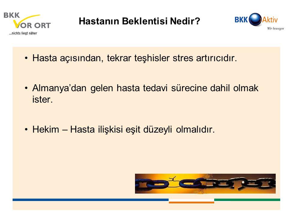 Hastanın Beklentisi Nedir? •Hasta açısından, tekrar teşhisler stres artırıcıdır. •Almanya'dan gelen hasta tedavi sürecine dahil olmak ister. •Hekim –