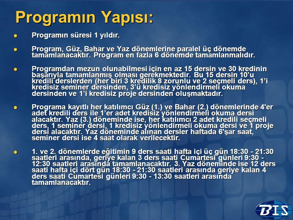Programın Yapısı:  Programın süresi 1 yıldır.  Program, Güz, Bahar ve Yaz dönemlerine paralel üç dönemde tamamlanacaktır. Program en fazla 6 dönemde