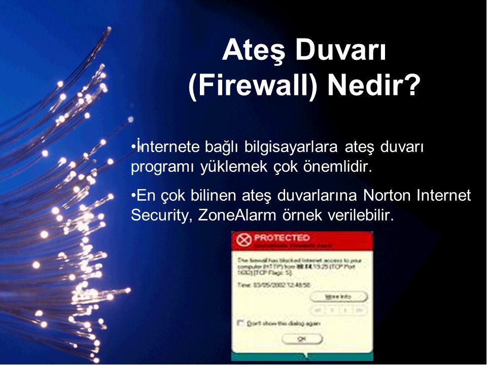 Ateş Duvarı (Firewall) Nedir? •İnternete bağlı bilgisayarlara ateş duvarı programı yüklemek çok önemlidir. •En çok bilinen ateş duvarlarına Norton Int