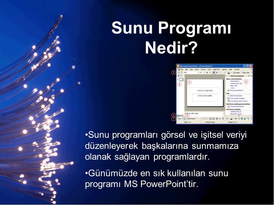 Sunu Programı Nedir? •Sunu programları görsel ve işitsel veriyi düzenleyerek başkalarına sunmamıza olanak sağlayan programlardır. •Günümüzde en sık ku