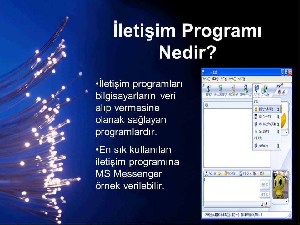 İletişim Programı Nedir? •İletişim programları bilgisayarların veri alıp vermesine olanak sağlayan programlardır. •En sık kullanılan iletişim programı