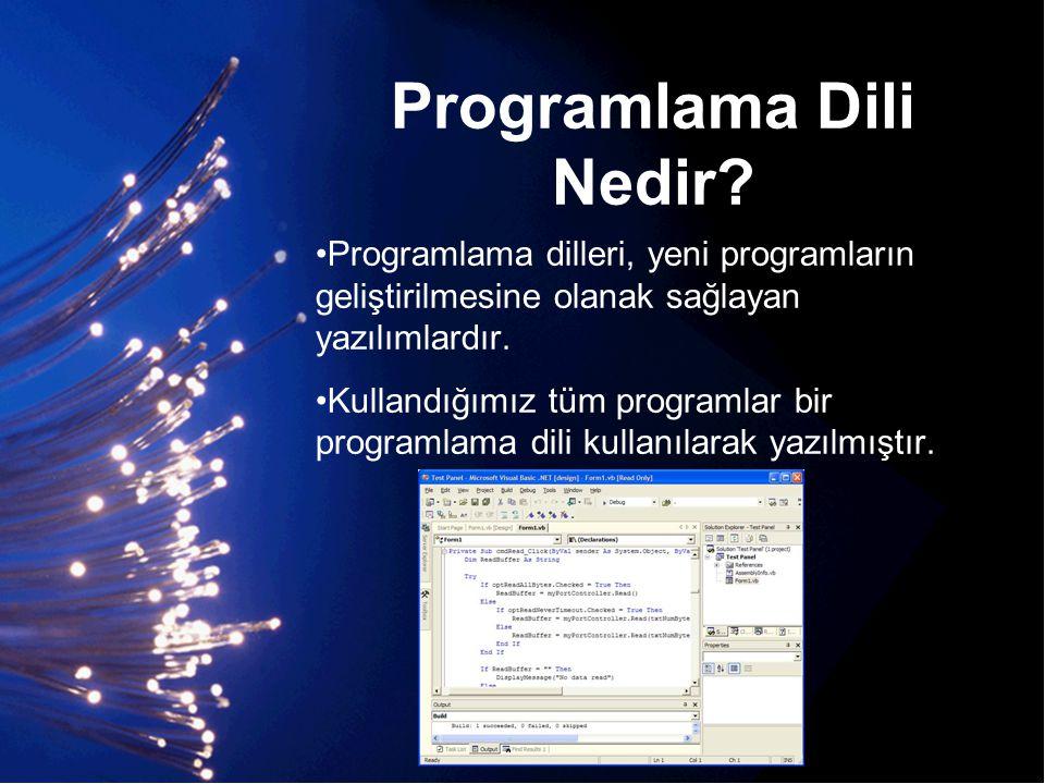Programlama Dili Nedir? •Programlama dilleri, yeni programların geliştirilmesine olanak sağlayan yazılımlardır. •Kullandığımız tüm programlar bir prog