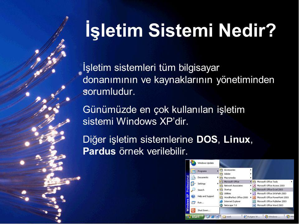 İşletim Sistemi Nedir? İşletim sistemleri tüm bilgisayar donanımının ve kaynaklarının yönetiminden sorumludur. Günümüzde en çok kullanılan işletim sis