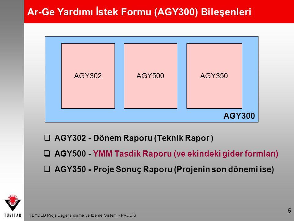 TEYDEB Proje Değerlendirme ve İzleme Sistemi - PRODİS 5 AGY300 Ar-Ge Yardımı İstek Formu (AGY300) Bileşenleri  AGY302 - Dönem Raporu (Teknik Rapor )