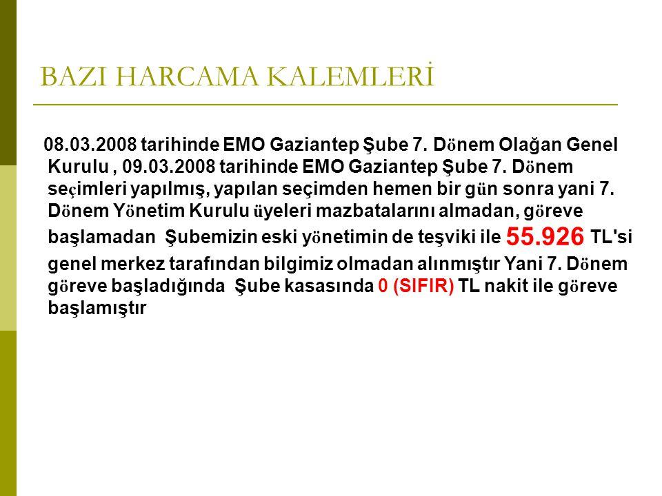 BAZI HARCAMA KALEMLERİ 08.03.2008 tarihinde EMO Gaziantep Şube 7. Dönem Olağan Genel Kurulu, 09.03.2008 tarihinde EMO Gaziantep Şube 7. Dönem seçimler