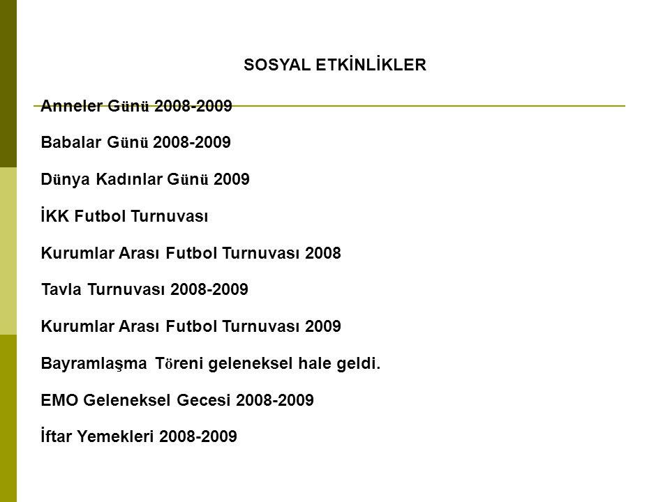 SOSYAL ETKİNLİKLER Anneler Günü 2008-2009 Babalar Günü 2008-2009 Dünya Kadınlar Günü 2009 İKK Futbol Turnuvası Kurumlar Arası Futbol Turnuvası 2008 Ta