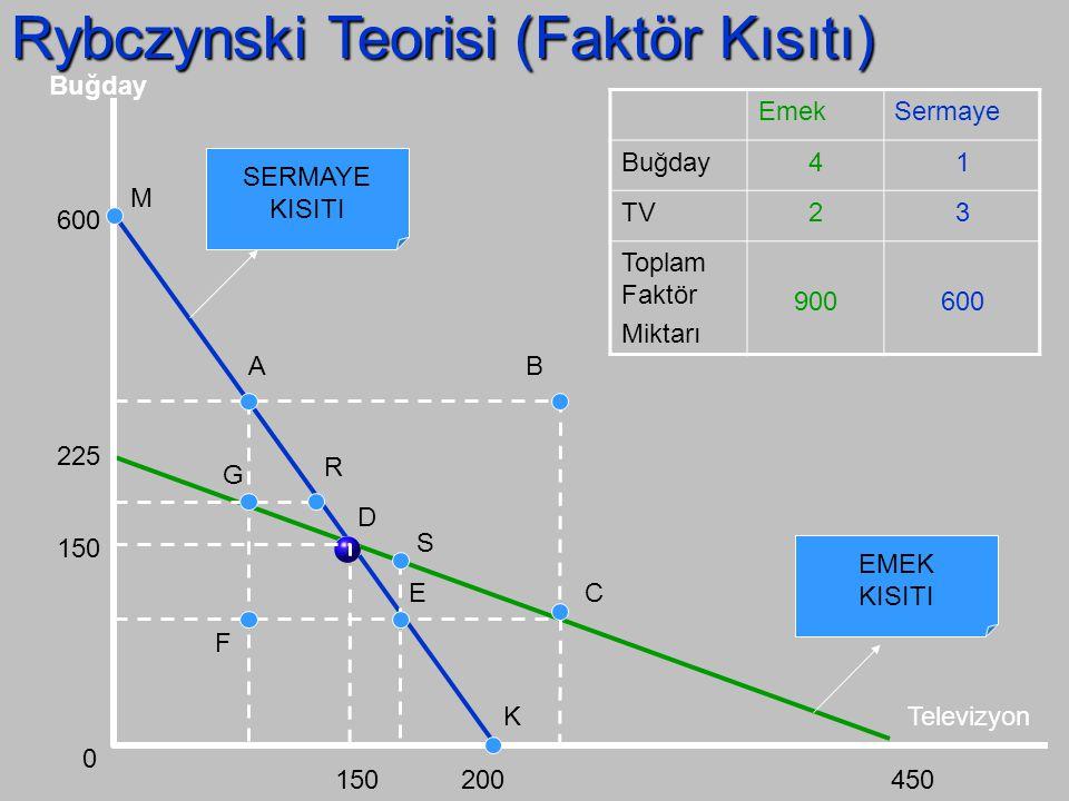 Rybczynski Teorisi (Dönüşüm Eğrileri) D T2 Televizyon Buğday 0 U1U1 U2U2 D Ü1 FUFU D Ü2 D T1 FUFU t1t1 t2t2 b1b1 b2b2