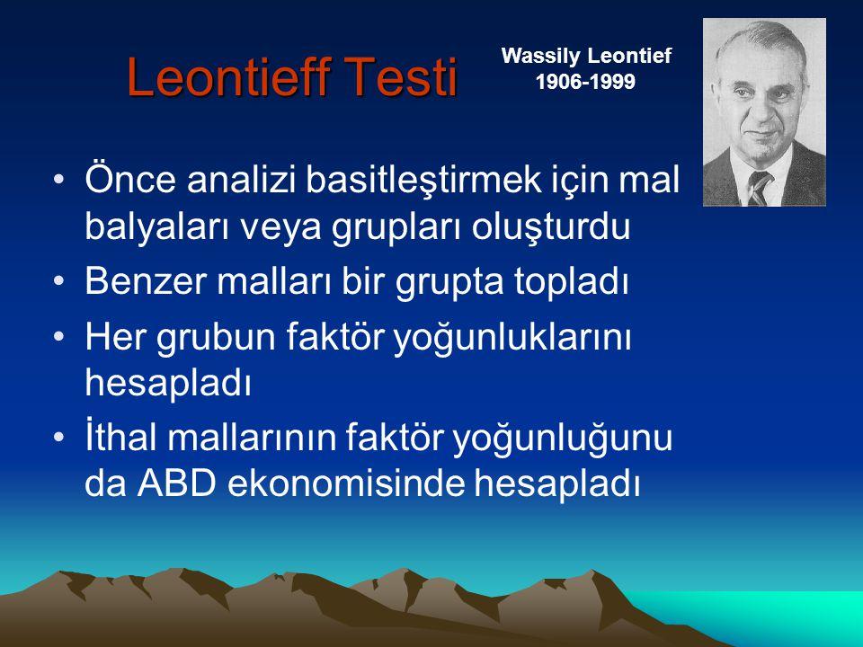 Leontieff Testi •1939 Girdi-Çıktı Analizini buldu •Böylece H-O teorisini test edilebilir hale getirdi.